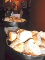 Bowls of fresh bread set out for patrons