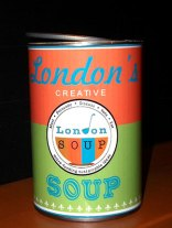 LondonSOUP BOWL winner! Soup can with LondonSoup Logo and colors on the label.