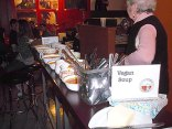 Bowls of Vegan soup set out for patrons selection